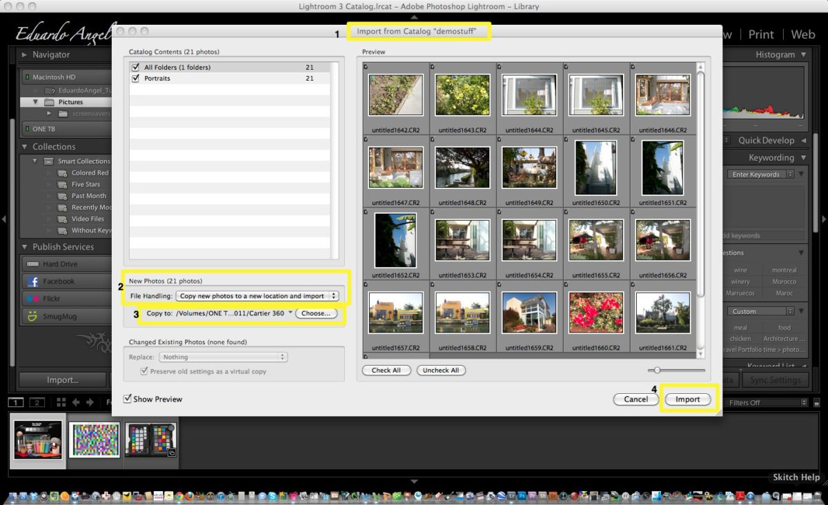 how to move lightroom catalogue to new hard drive