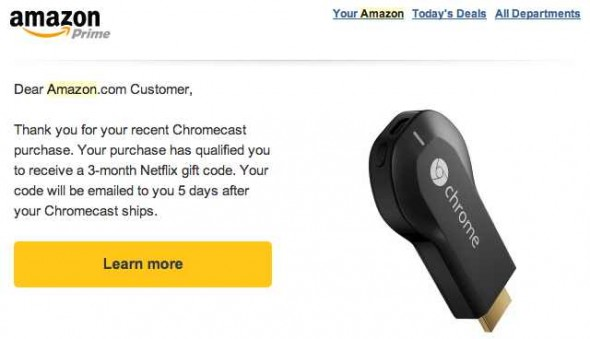 Google Chromecast - Netflix Gift Code Promotion